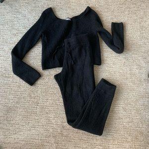 Olivia Culpo x EXPRESS Black Ribbed Knit Set